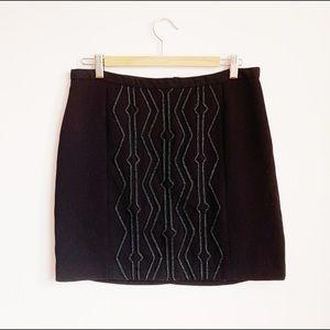 black art deco textured embellished mini skirt